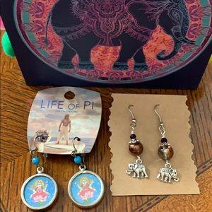 Buddha and Elephant Zen Earrings set of 2 New